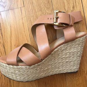 Michael/Michael Kors Tan Espadrille Wedge sandal